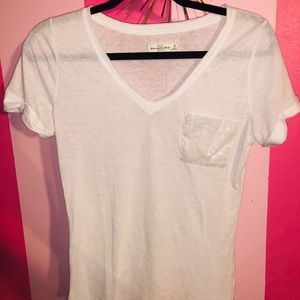 Classic White VNeck with Sparkle Pocket!